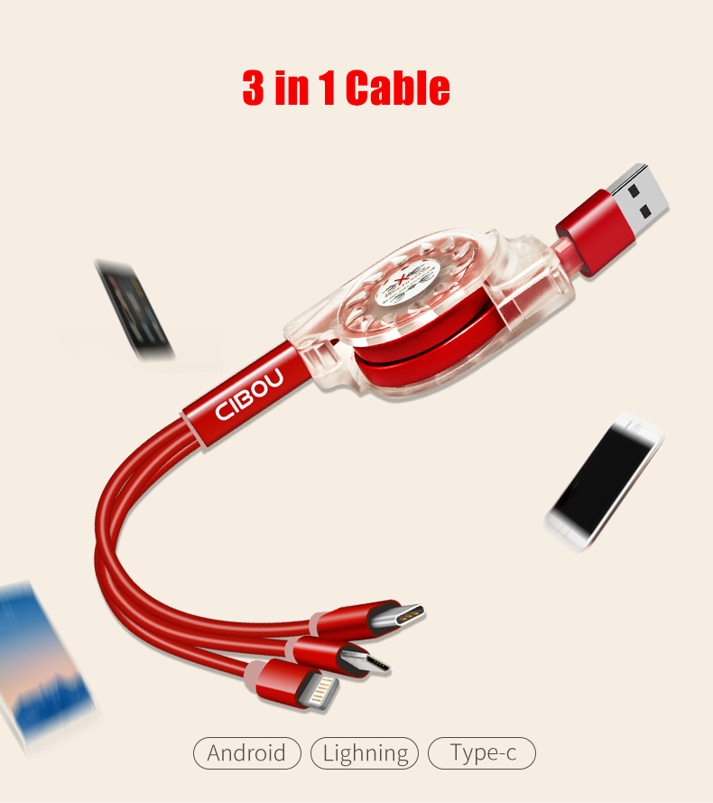 3 in 1 Cable 1M For iSO/Android/Type-c Support Fast Charging
