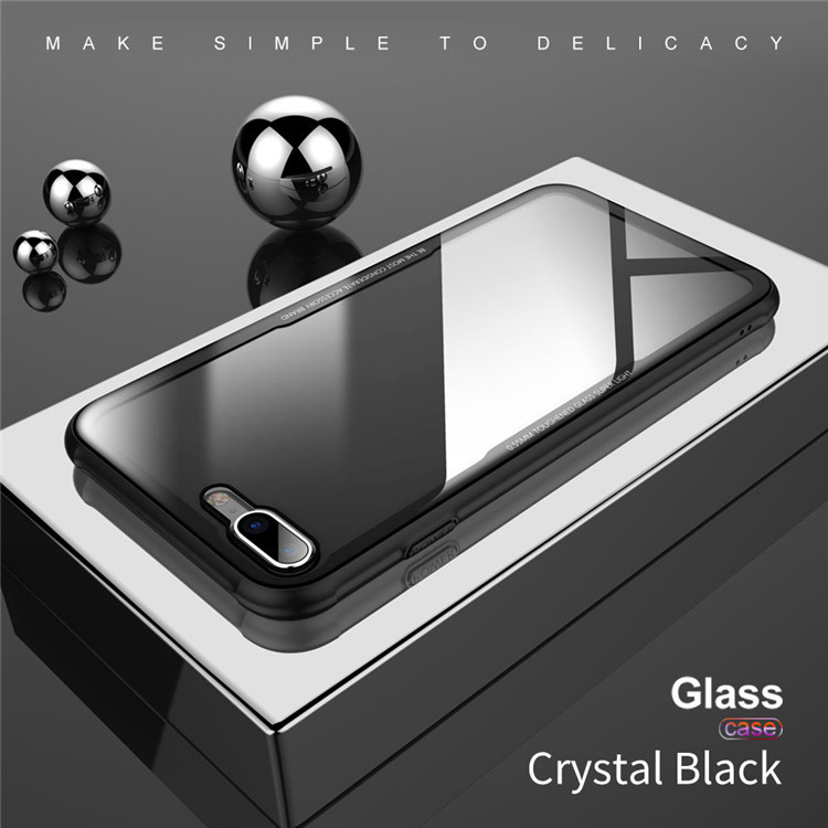 new products tempered glass case for iphone mobile phone hybird hard glass tpu case for iPhone X/8/7 cover
