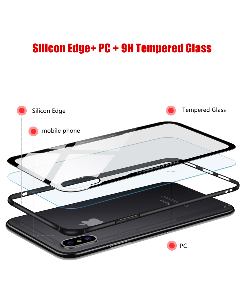 Back Cover Full Protection PC Hybrid Glass Case for iPhone X
