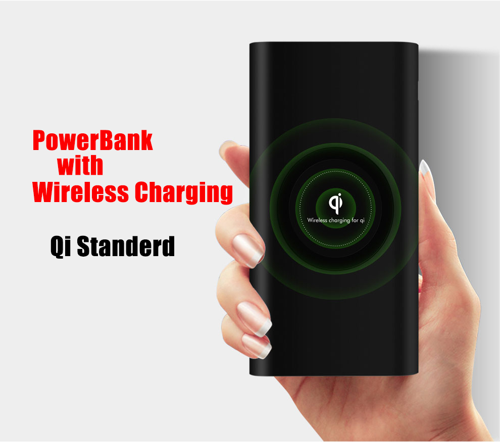 Newest PowerBank With 5W Qi Standerd Wireless Charging 10000mAh