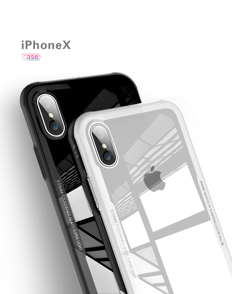9H Tempered Glass With TPU Case For iPhone X/8P/87P/7/6P/6 Anti-Scratch Muti-Color