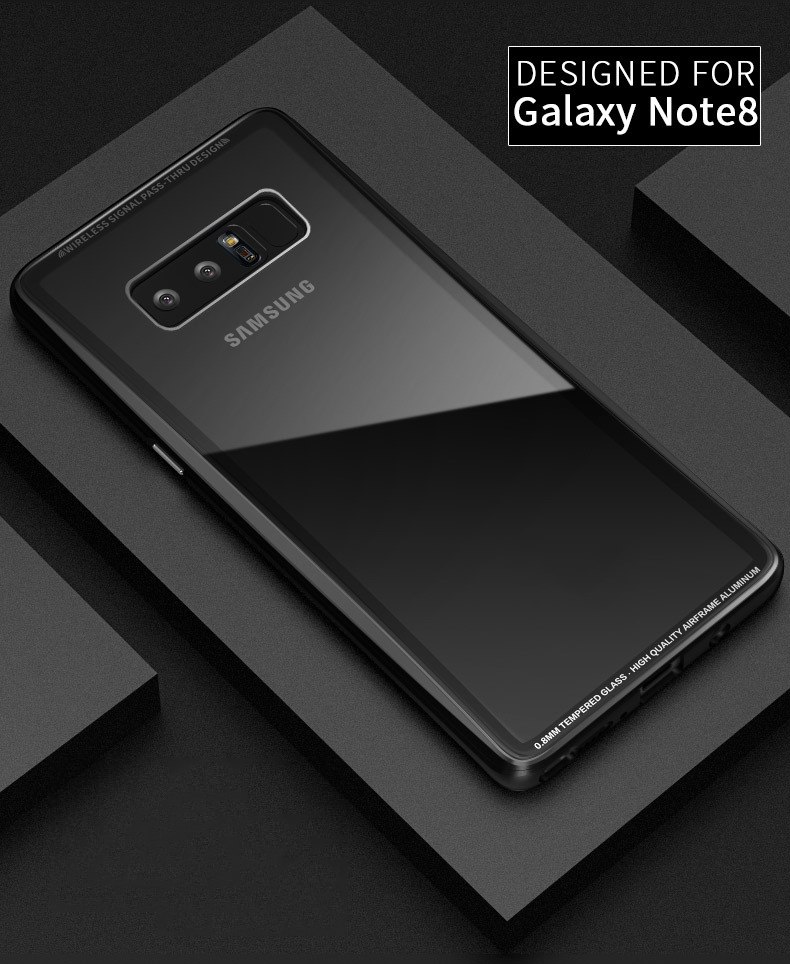 0.8MM Glass Case with Metal Frame for Samsung Note 8