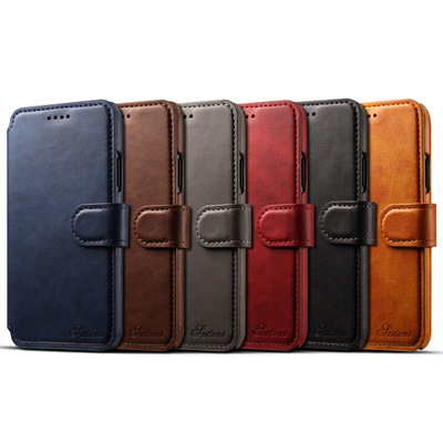 Luxury retro flip cover real genuine leather wallet phone case for iPhone